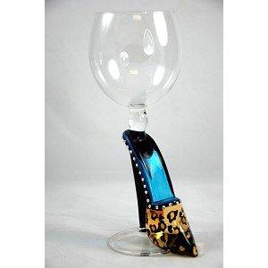Hand Blown Leopard High Heeled Shoe Wine Glass by Yurana Designs