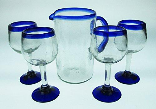 Hand Blown Wine Glasses matching Pitcher Set Blue Rim 4 glasses