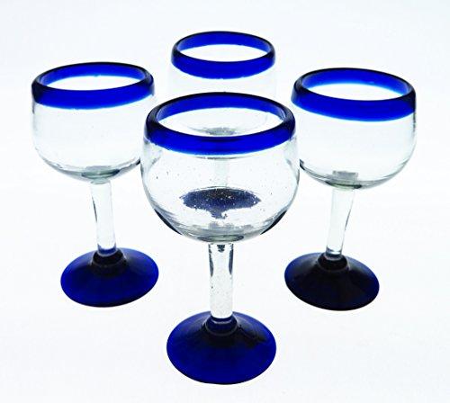 Mexican Glass Wine Hand Blown Blue Rim Tulip Shape Set of 4 14 Oz