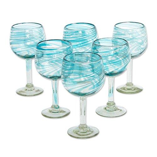 NOVICA Clear Blue Glass Hand Blown Wine Glasses 13 oz Elegant Aqua Swirl set of 6