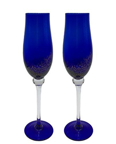 KCHAIN 2pcs Champagne Flute Glass 7oz Tulip Blue