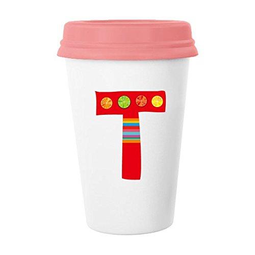 T Alphabet Orange Fruit Cute Interesting Funny Illustration Pattern Classic Mug White Pottery Ceramic Cup Milk Coffee Cup 350 ml