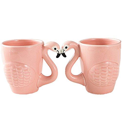 BESTERY Creative Ceramic Flamingo Mug Cup Coffee Breakfast Tea Cup with Handle Best Gift