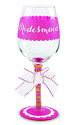 Mud Pie Bridesmaid Wine Glass Pink