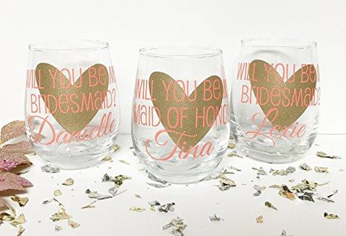 Will you be my bridesmaid Will you be my maid of honor Bridesmaid Proposal Asking Bridesmaids Will you be my bridesmaid wine glass