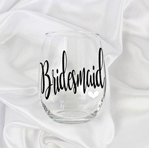 unique Bridesmaid wine glass stemless gift Glitter design for her 61