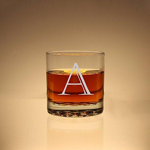 Initial Scotch Glass Groomsman Gift Monogram Whiskey Glass Etched Rock Glass Personalized Scotch Glass Etched Glass