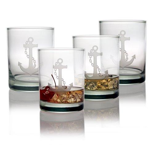 Susquehanna Glass Nautical Anchor Sand Etched Rocks Glasses Set of 4 14 oz