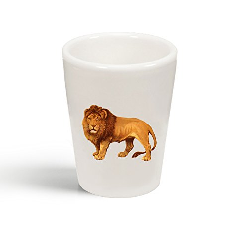 Style In Print Lion Vintage Look Ceramic Shot Glass Cup