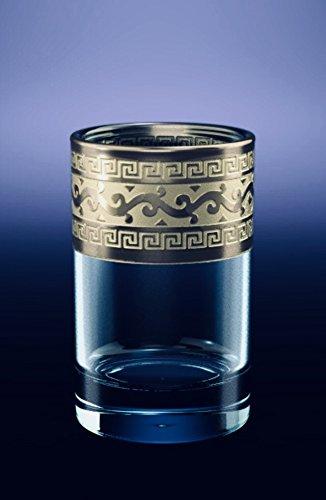 CRYSTAL SHOT GLASSES 2oz60ml SET of 6 VODKA COGNAC BRANDY WHISKEY ARMAGNAC CALVADOS SHERRY GLASSES with PLATINUM PLATED TRIM GREEK KEY VINTAGE EUROPEAN DESIGN