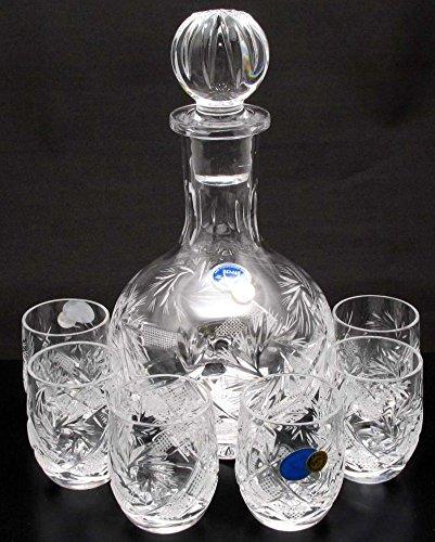 Combination Russian Cut Crystal 12 Oz Carafedecanter 6 Crystal Shot Glasses Barrell Shape