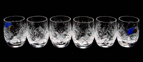 SET of 6 Russian CUT Crystal Shot Glasses Barrel 50ml Hand Made