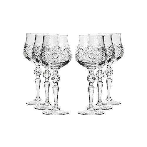 Set of 6 Neman Glassworks 2-Oz Hand Made Vintage Russian Crystal Shot Glasses on a Stem Vodka or Liquor Old-fashioned Glassware