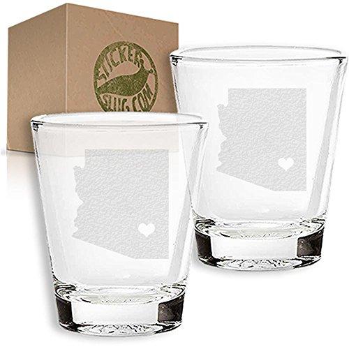 Stickerslug Engraved Arizona State Love Shot Glasses 15 ounce Set of 2