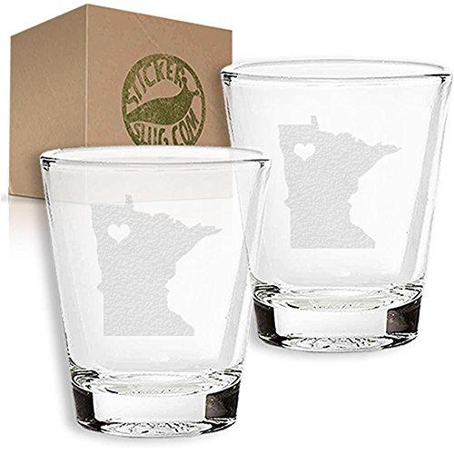 Stickerslug Engraved Minnesota State Love Shot Glasses 15 ounce Set of 2