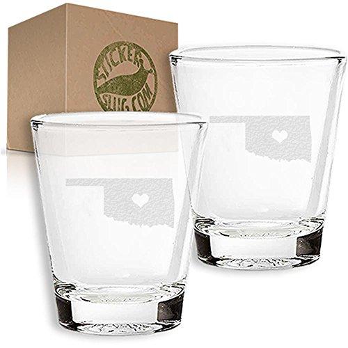 Stickerslug Engraved Oklahoma State Love Shot Glasses 15 ounce Set of 2