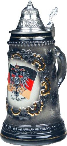Beer Steins by King - Black German Deutschland Flag and CoA German Beer Stein Beer Mug 05l