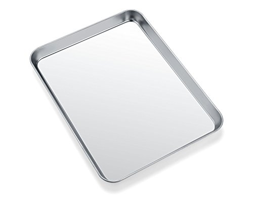 Toaster Oven Tray Pan Zacfton Baking Sheet Stainless Steel Cookie Sheet Rectangle Size 10 x 8 x 1 inch Non Toxic HealthySuperior Mirror Finish Easy Clean Dishwasher Safe 10inch