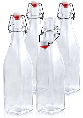 Estilo Swing Top Easy Cap Glass Beer Bottles Square 16 oz Set of 4