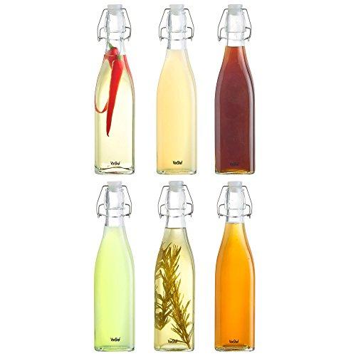 VonShef Set of 6 17 fl oz 500ml Vintage-Style Glass Bottles with Swing Top Flip Lids for Preserving Home Brewing Beer Drinks Condiments Oil or Vinegar