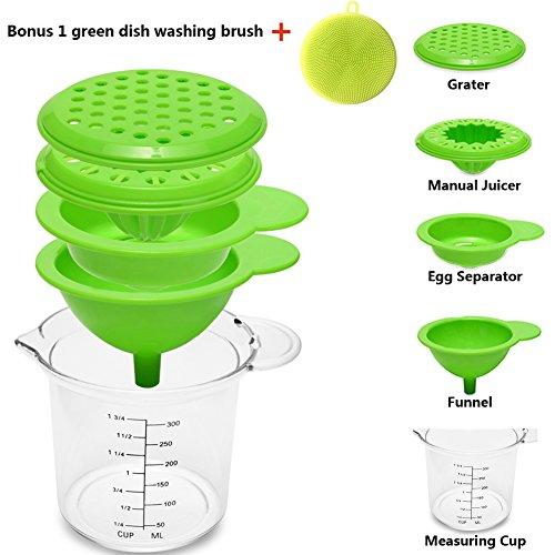 5 in 1 Multi Function Kitchen Tool SetDEXING Manual Citrus Juicer Funnel Seasoning Grater Egg Separator and Measuring CupBonus 1 Silicone Dish Washing Brush