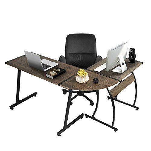 GreenForest L-Shaped Corner Desk Gaming Computer PC Writing Workstation for Home Office 3-PieceDark Walnut