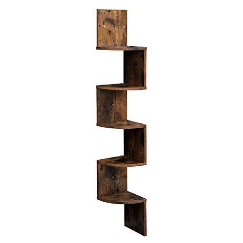 VASAGLE Corner Shelf 5-Tier Floating Wall Shelf with Zigzag Design Bookshelf Rustic Brown ULBC20BX