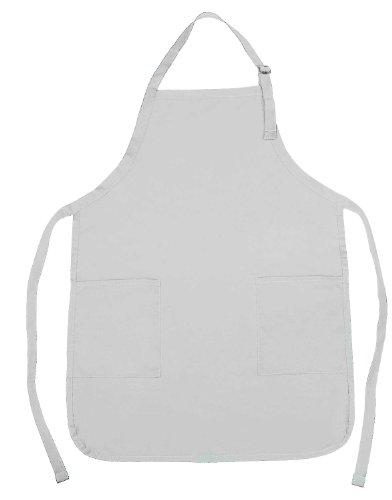Apron Commercial Restaurant Home Bib Spun Poly Cotton Kitchen Aprons 2 Pockets in White