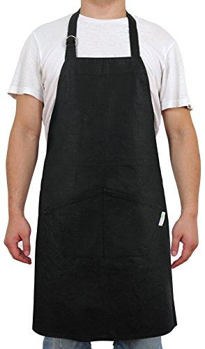 Deconovo Bib Apron Chef Kitchen Apron with Pockets and Adjustable Neck Straps 100 Cotton Flame Retardant Coating Chef Aprons Charcoal Black