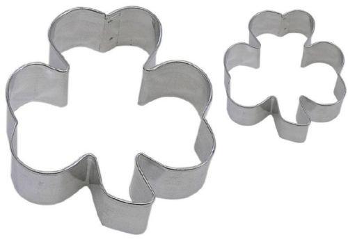 2 Piece Shamrock Mini Shamrock Cookie Cutter Set NEW Green