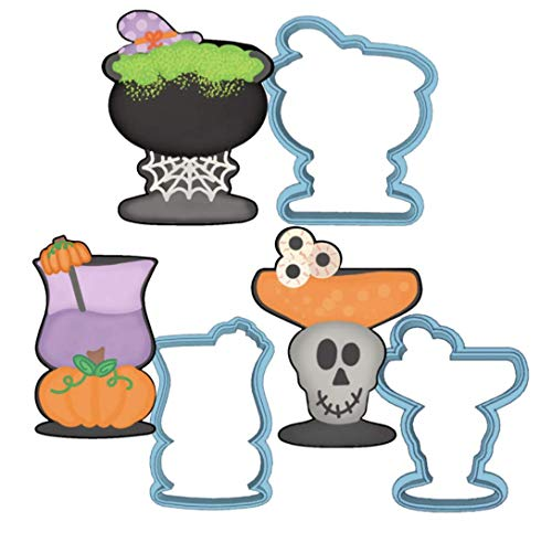 Halloween Cocktail Cookie Cutter Set - American Confections - Witch Pumpkin Skull Martini Wine Glass