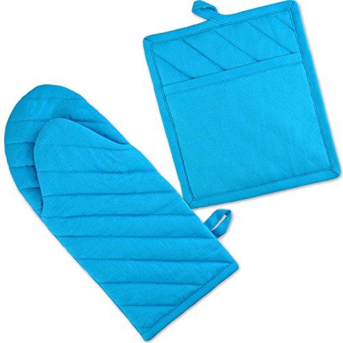 DII 100 Cotton Machine Washable Everyday Kitchen Basic Oven Mitt and Pot Holder Gift Set Neon Blue