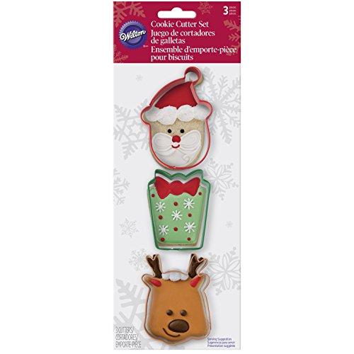 Wilton 3 Piece Holiday Metal Cookie Cutter Set Santa Present Reindeer