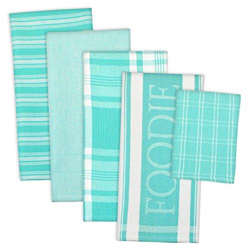 DII 100 Cotton Ultra Absorbent  Washing Drying Foodie Kitchen Dishtowel 18 x 28 Dishcloth 13 x 13  Set of 5-  Aqua