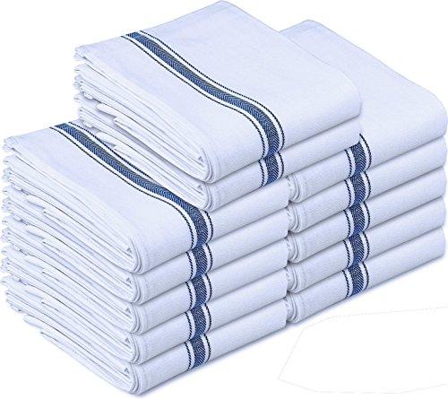 Kitchen Towels Dish Cloth 12 Pack Machine Washable Cotton White Kitchen Dishcloths Towel Tea Towels 15 x 25 Inch by Utopia Towels