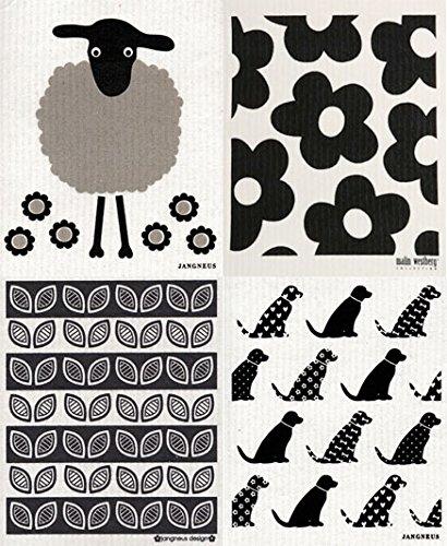 Swedish Dishcloth Set of 4 Black Grey DD