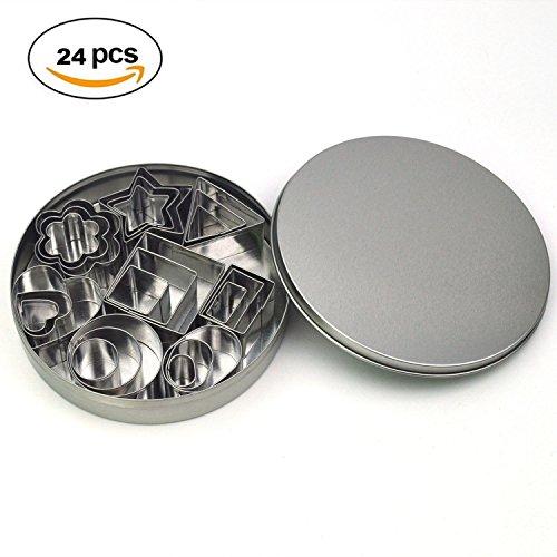 GXHUANG Mini Cookie Cutter Set – 24 PCS Stainless Steel Fondant Cutters – 3 Hearts Shape 3 Stars Shape 3 Flowers Shape and 15 Geometric Shape