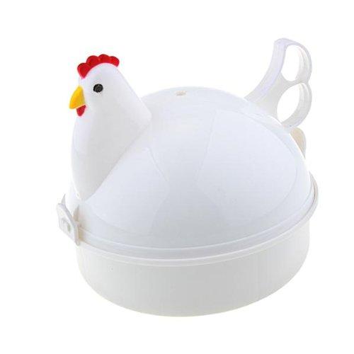 VivReal Chicken Shaped Plastic Microwave 4 Egg Boiler Steamer Poacher Cooker Tool