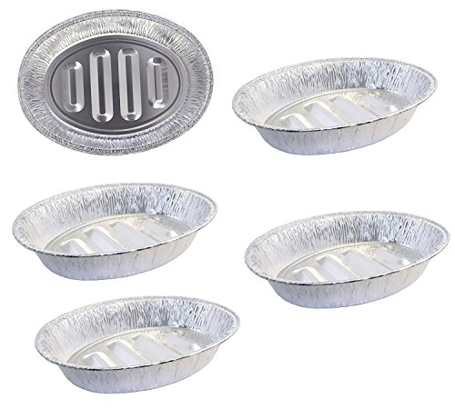 Pack of 5 Extra Large Disposable Aluminum Foil Roasting Pans Oval Shape Extra Large Size 1825 X 135  X 35 Deep