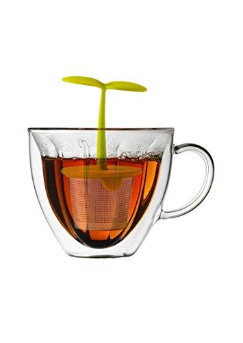 Brilliant - Floral Tea Set Double Wall Flower Shape Tea Mug with a Tea Infuser Leaf Strainer Handle
