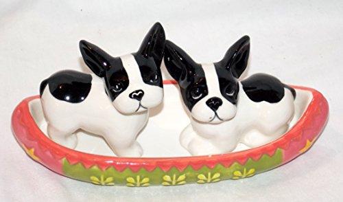 New Adorable French Bulldog  Boston Terrier Dog Puppies in Canoe Salt Pepper Shaker and Holder