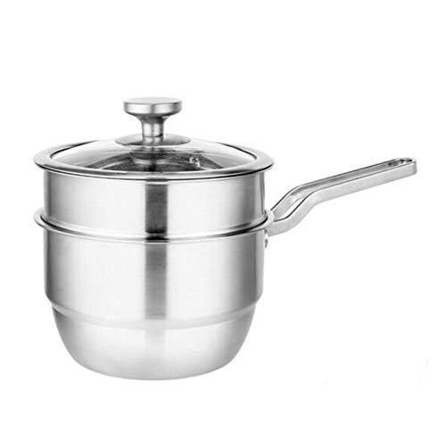 UPKOCH Stainless Steel 2 Tier Steamer Pot Set with Glass Lid Steamer Saucepot Double Boiler Steaming Cookware 18cm Pot
