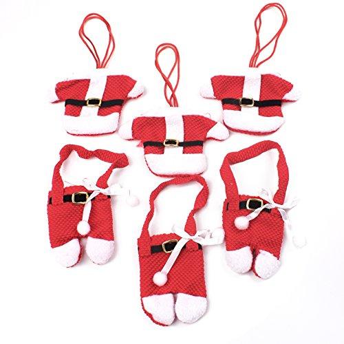 BIHRTC Pack of 6 Santa Suit Christmas Dinner Flatware Holders Xmas Decoration Cutlery Holder