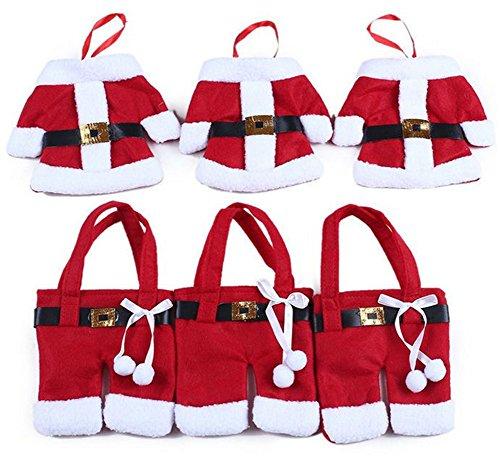 YEDAYS Christmas Kitchen Cutlery Suit Silverware Holders Pockets Knifes Forks Bag Santa Claus Tops Pants knife and fork Desktop Decoration 3 Sets