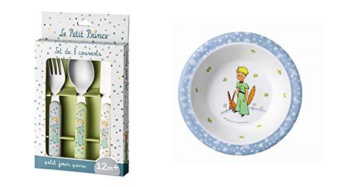 Le Petit Prince Toddler Flatware Set and Blue Bowl
