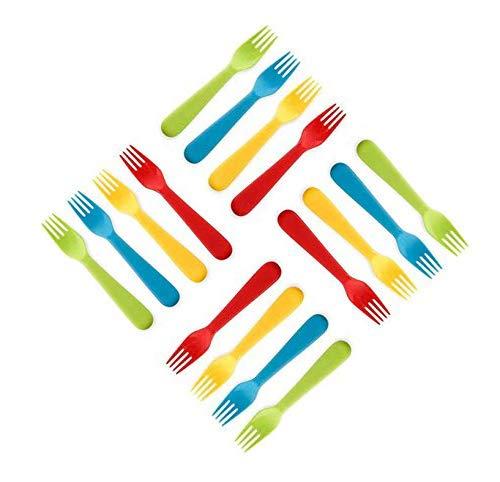 Plaskidy Plastic Kids Forks - Set of 16 Toddler Forks BPA FreeDishwasher Safe Kids Utensils Set Brightly Colored Kid Forks Flatware Set Great for Kids and Toddlers Fork