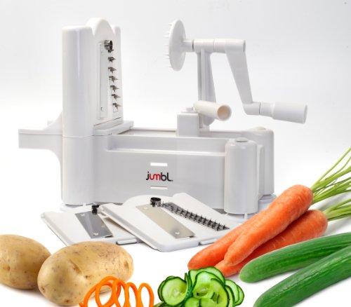 JumblTM Vegetable Fruit Spiral Slicer Tri-Blade wThree Stainless Steel Blades