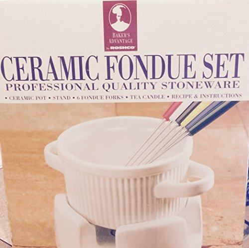 Roshco Ceramic Stoneware White Fondue Set