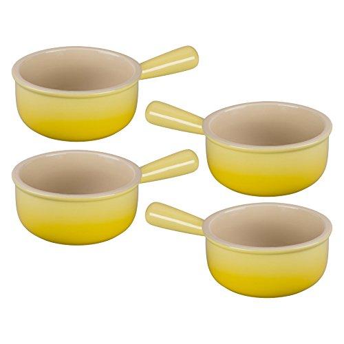 Le Creuset Soleil Yellow Stoneware French Onion Soup Bowl Set of 4