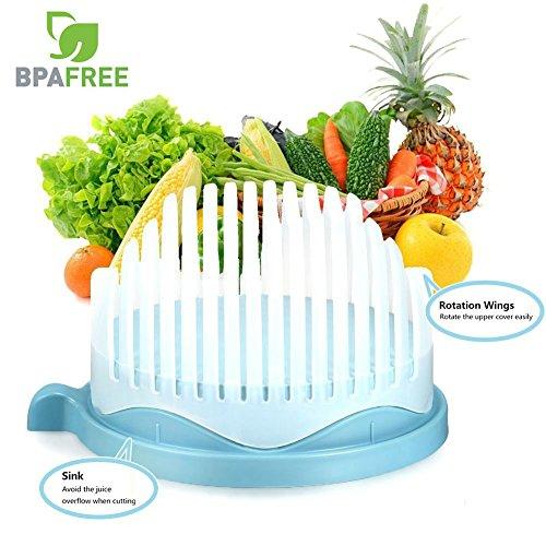60 Second Salad Maker Perfect Salad Cutter Bowl Easy Fruit Vegetable Cutter Bowl Fast Fresh Salad Slicer Salad Chopper - Blue